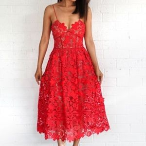Self-Portrait Dresses - Self Portrait 3d Azaelea Dress Tomato Red